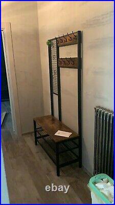 Industrial Coat Stand Hall Tree Rack Shoe Storage Bench with Hooks Shelf Garment