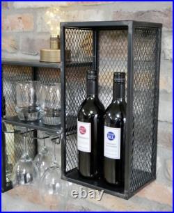 Industrial Wine Rack Metal Wall Furniture Bottle Storage Shelving Unit Drinks