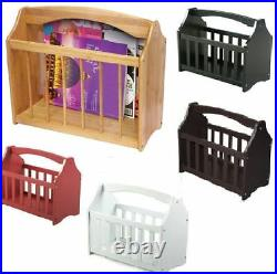 Magazine Rack Free Standing Wooden Mail Newspaper Holder Storage Shelf Stand