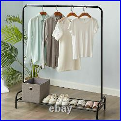 Metal Clothes Heavy Duty Hanging Rail Clothing Coat Stand with Shoe Rack Shelf