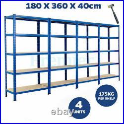 Metal Racking 4 Bay 5 Tier Shelving Industrial Garage Warehouse Storage Shelf