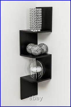 New 3 Tier Zigzag Corner Wall Wooden Floating Display Shelf Shelves Storage Rack