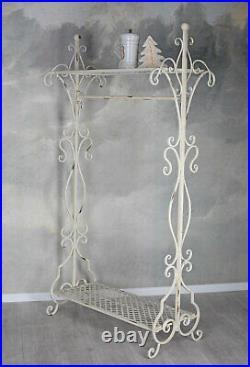 Nostalgic wardrobe shabby chic coat rack antique white metal coat stand shelf