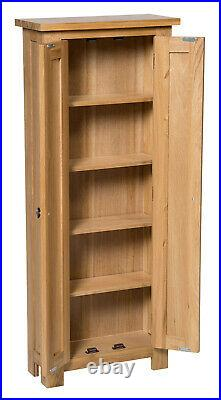 Oak DVD CD Storage Cabinet Solid Wood Cupboard/Rack/Tower/Unit with 5 Shelves