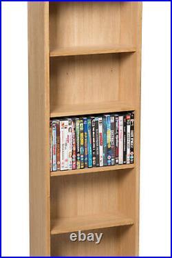 Oak DVD CD Storage Rack Wooden Shelving Tower/Holder/Stand/Unit with 5 Shelves