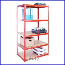Red Metal Deep Garage Shelves Shelving Heavy Duty Racking Storage 180x90x60cm