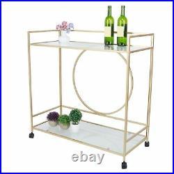 Rolling Serving Drinks Trolley Cart Glass Shelf Wine Racks 2 Tier Bar Storage