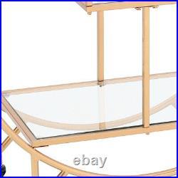 Round Glass Drinks Trolley Kitchen Sideboard Storage Shelf Rack Gold Metal Frame