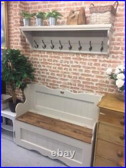 Solid Pine Coat Peg Shelf, Bag&Coat Rack, Hall Porch Storage Shelf, Kent Showroom