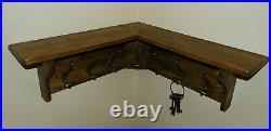 Solid Wood Hat&Coat CORNER Rack with shelf Shabby Rustic Jacobean 3,5,7,9 hooks