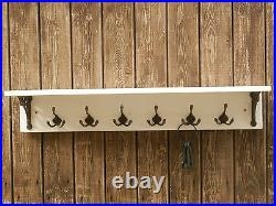 Solid wood Hat&Coat Rack with wide shelf & wall brackets shabby chic, white wash