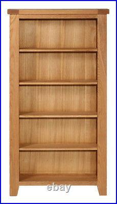 Tall Oak DVD CD Storage Rack Wooden Shelving Tower 5 Tiers Media Organiser