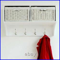 Tetbury White Coat Rack with storage baskets, hallway hanging shelf with hooks