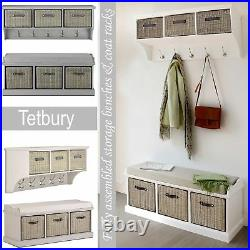 Tetbury bench and hanging shelf, extra strong storage baskets. Hallway furniture