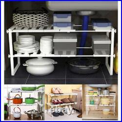 Under Sink Kitchen Rack Organiser Adjustable Shoe Storage Tidy Shelf Unit White