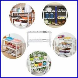 Under Sink Storage Caddy Multi Purpose Rack Adjustable Tidy 2 Tier Shelf Kitchen