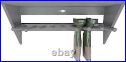 Wall Mounted Boot Rack Welly Shoe Hanging Shelf Unit For 4 Pair Storage Wooden