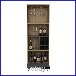 Wine Rack Drinks Storage Cupboard 1 Door 3 Shelves 6 Bottle Rack Oak and Grey