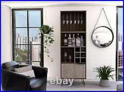 Wine Rack Drinks Storage Cupboard 1 Door 3 Shelves With 6 Bottle Rack Oak & Grey